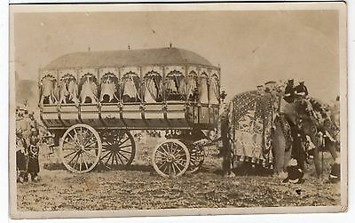STATE CARRIAGE PULLED BY ELEPHANTS OLD POSTCARD at KARACHI