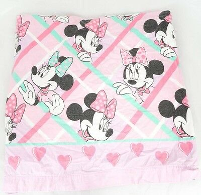 Disney Minnie Mouse Twin Fitted Sheet Flannel Fabric Cutter Pink Green VTG