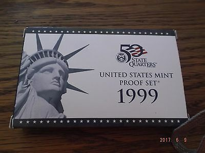 1999 U.S. Mint Proof Set - 9 pc set includes includes first state quarter issues