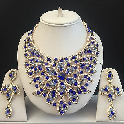 Blue Gold Costume Jewellery Necklace Earrings Diamond Crystal Set Bridal New