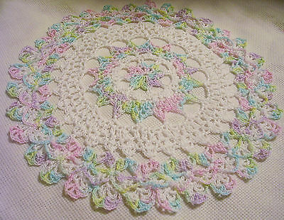hand dyed thread spring pastel lace crocheted by Aeshagirl