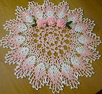 pink roses doily crocheted  by Aeshagirl