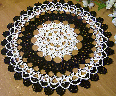 black and white Gothic doily crocheted doily by Aeshagirl