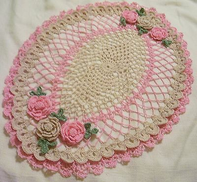 orchid  pink and ecru oval roses crocheted doily by Aeshagirl