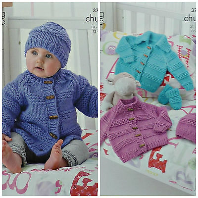 KNITTING PATTERN Baby Cardigans Mittens & Hat Chunky King Cole 3707