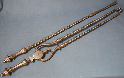 Antique Georgian Wrought Iron Fire Tongs and Poker Twisted stems