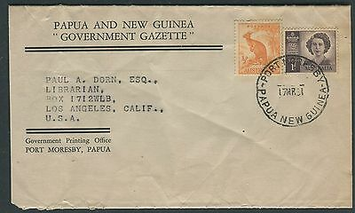 Papua New Guinea Govt Gazette wrapper with Australian stamps used 1951