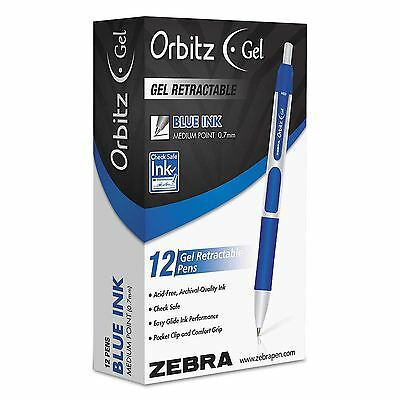 Zebra - Orbitz Retractable Gel Pen, Blue Ink, Medium - Dozen ***NEW***