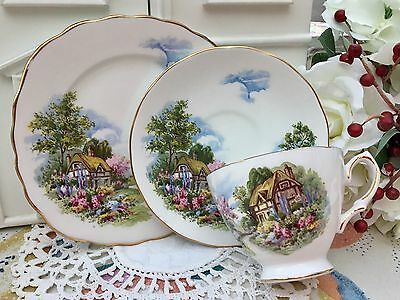 ROYAL VALE BONE CHINA 1960s TRIO CUP SAUCER PLATE THATCHED COTTAGE GARDEN
