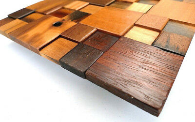 Decorative Wood Tiles For Wall, 3d Wall Art, Wood Mosaic, Wall Covering Decor