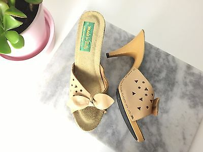 RARE VTG Italian NOS Womens 80's Cutout Heels Mules Leather Sandals Shoes 7 NEW