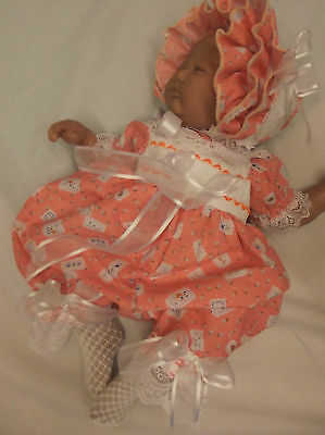 Dream Baby Girls Peach Bubble Romper And Frilly Bonnet  Or Reborn Dolls