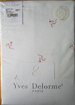 YVES DELORME KING Fitted Sheet LILIROSE ROSE 156x208cm NEW
