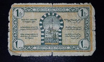 Regency of Tunisia (French Protectorate) P-55 1 Francs 1943 *G*  Banknote