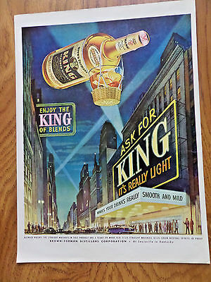 1951 King Whiskey Whisky Ad  Really Light!