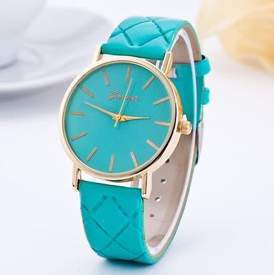 Ladies Large Face Green Leather Strap Fashion Watch