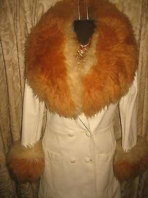 vtg 1970s ICONIC White Leather & SHEEP FUR HUGE COLLAR & CUFF Jacket Coat RARE S