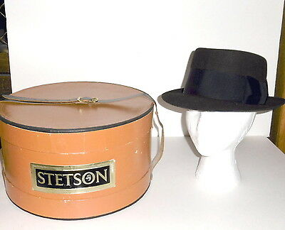 Vintage Stetson Black Lancer 7 1/8 Hat Chocolate Brown With Black Band & Box