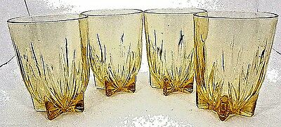 Federal Depression Glass Yellow Star Pattern Art Deco Style Tumblers Set of 4