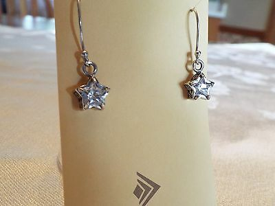 Silpada Star Cubic Zirconia and Sterling Silver French Wire Earrings .925