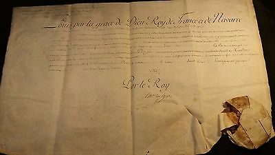 KING LOUIS XVI AUTOGRAPH on Large Parchment Document with WAX SEAL - 1786