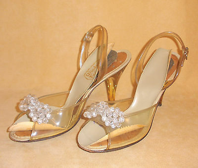 1950's Clear Plastic & Lucite High Heel Evening Shoes w/ Bead Accents Size 8 N
