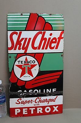 1940's TEXACO SKY CHIEF PETROX PUMP PORCELAIN  METAL  SIGN GAS OIL SEED TEXAS