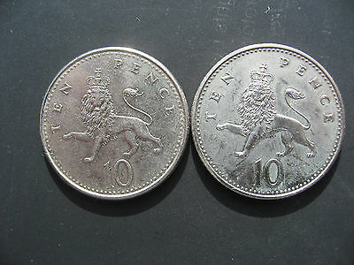 Elizabeth II 10p 1992. Thick Flan and Thin Flan.