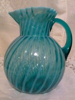 Antique Blue Opalescent Swirl Glass Water Pitcher, excellent condition