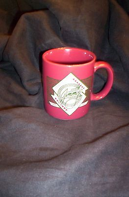 UCLA JIMMY'S COFFEE HOUSE VINTAGE 1980's RED MUG, MINT CONDITION