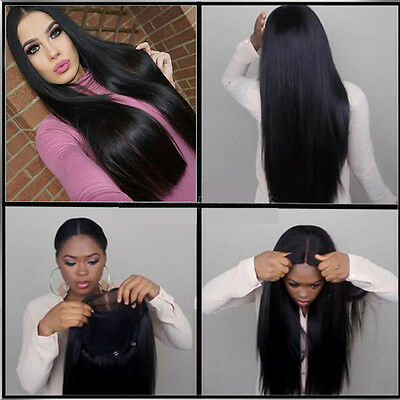 """24"""" Long Straight Natural Black Heat resistant Synthetic Lace Front Wig"""