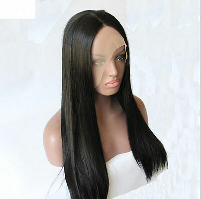 """18"""" Heat resistant Lace front wig Synthetic hair Silky Straight Black color"""