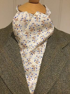 Riding Dressage, Eventing Stock Tie Untied Cream With Blue Flowers