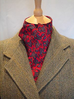 Riding Dressage, Eventing Stock Tie Untied Red Paisley