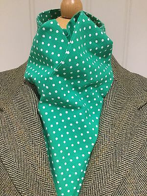 Riding Dressage, Eventing Stock Tie Untied Green With White Spot