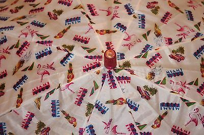 VTG Pink retro Flamingo Parrot Miami Vice Festival Beach sun umbrella 80's TV