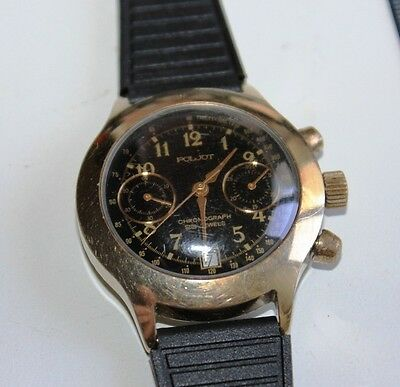 USSR Chronograph 23 Jewels POLJOT military Watch AU Tachymeter Working