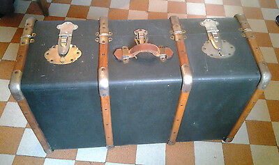 Harry Potter style 1900 Antique Steamer Trunk Bentwood paper lined fabric cover