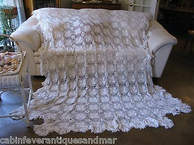 Vintage White Crochet Pinwheel Poster Bed Bedspread Blanket Throw Fringe 98x84
