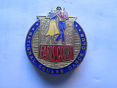 EARLS COURT NATIONAL SQUARE DANCE CLUB LARGE ENAMEL BADGE c1950s