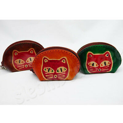 Handmade Cute Gift Set 3 Pcs. Cat Small Leather Coin Bag Purse Pouch Free Ship