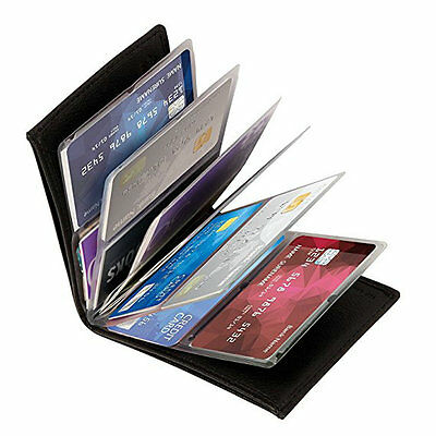 NEW Wonder Wallet Amazing Slim RFID Wallets As Seen on TV Black Leather 24Cards