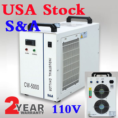 USA! S&A 110V 60Hz CW-5000DG Water Chiller for80W/100W Laser Tube, Wood Carving