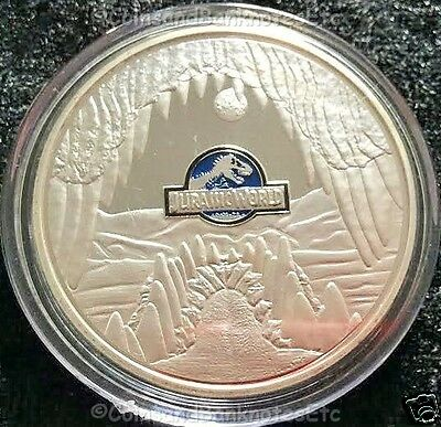JURASSIC WORLD Silver Plated 1oz .999 Coin Collectors Medal Dinosaurs (18)