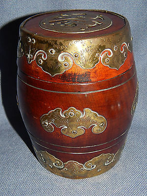 Antique Chinese Wooden Drum-Shape Box With Engraved Brass Bat Decoration ~ 19Thc