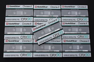 10x Goldstar CRX90 (Type II) Chrome Audio Cassette Tapes (Made in Korea) ©1986