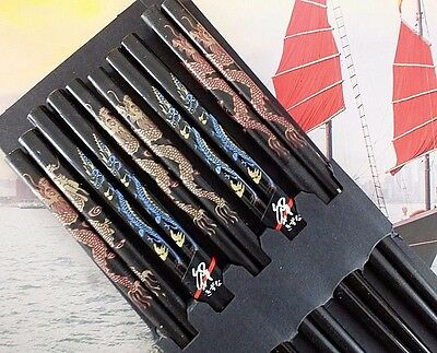 5 Chinese Gold Dragon Black Chopsticks Japanese Dinner Birthday Hair Stick Party