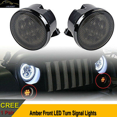 2PCs Amber LED Turn Signal Lights Smoke Lens Front Grill For Jeep Wrangler JK