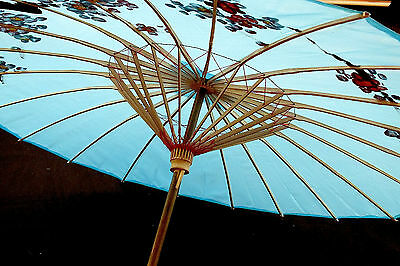 JAPANESE XL 81cm TURQUOISE BLUE PARASOL UMBRELLA CHINESE WEDDING DANCE PARTY