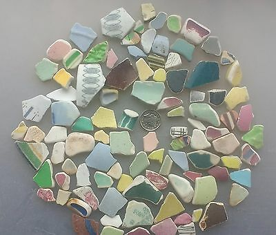 100 Mixed Size English Beach Finds Sea Pottery Ceramic Bright Colours & Patterns